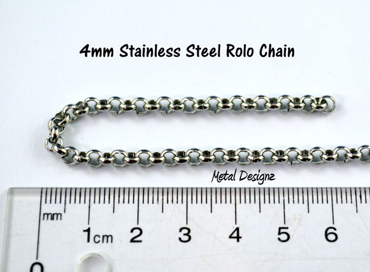 Stainless Steel Rolo Chain - 4mm - By the foot