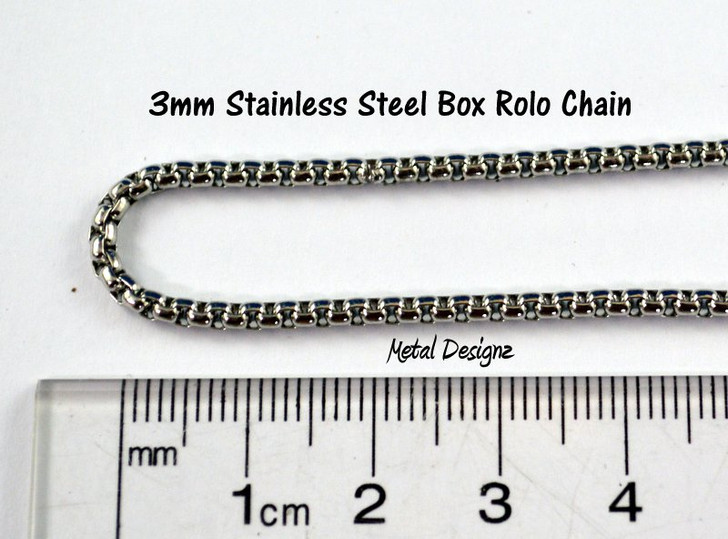Stainless Steel Box Rolo Chain - 3mm - By the foot