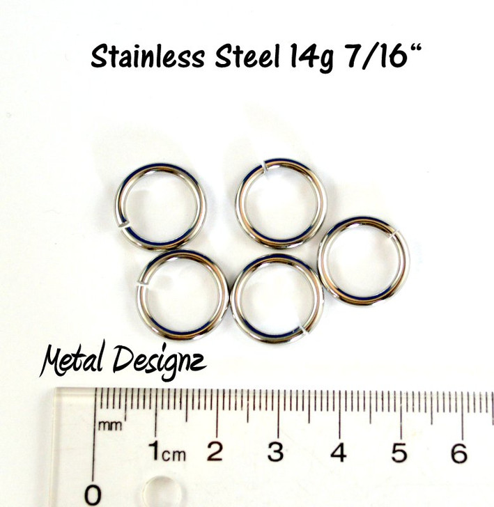 "Stainless Steel Jump Rings 14 Gauge 7/16"" id."