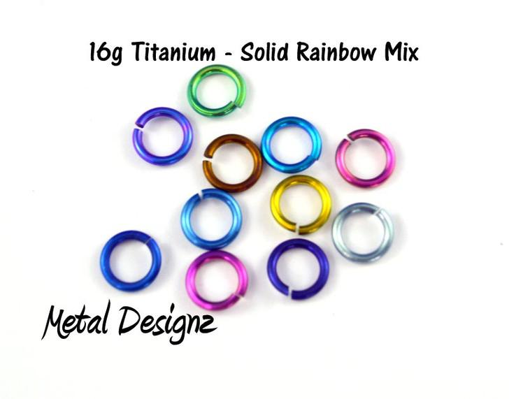 "Anodized Titanium Jump Rings 16 Gauge 1/4"" id."