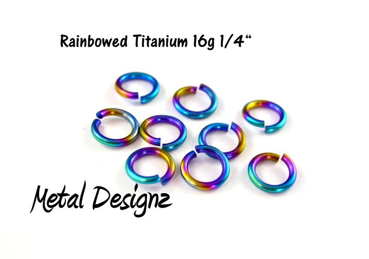"Rainbowed Anodized Titanium Jump Rings 16 Gauge 1/4"" id."