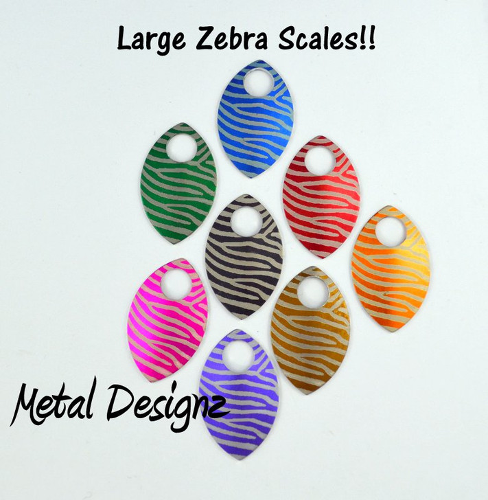 Zebra Print Engraved Anodized Aluminum Large Scales