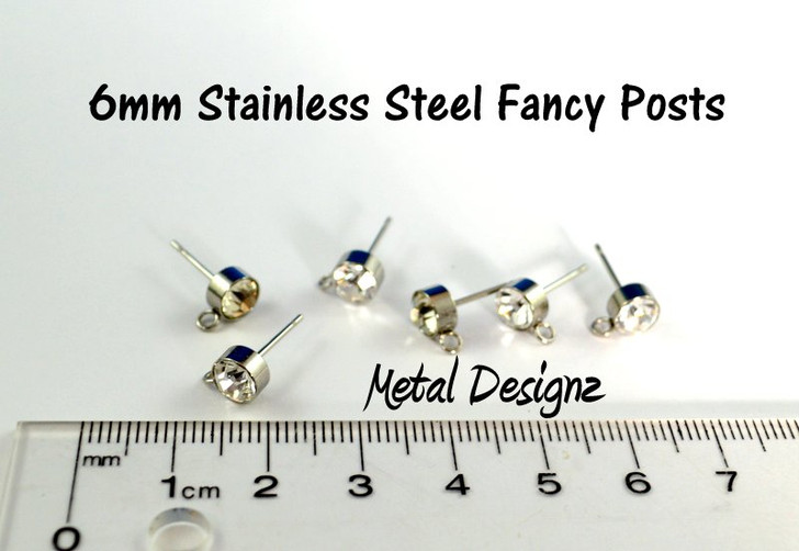 Fancy Stainless Ear Posts - 6mm Cubic - Bag of 5 pairs