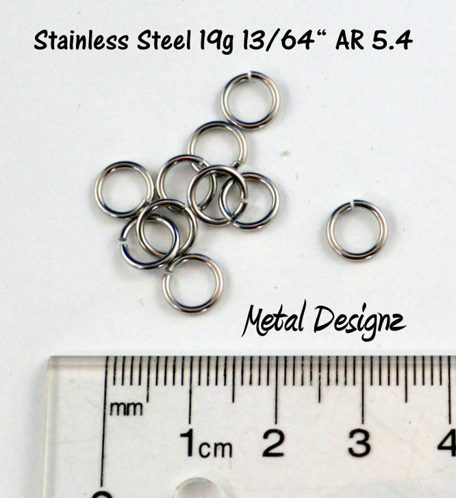 "Stainless Steel Jump Rings 19 Gauge 13/64"" id."
