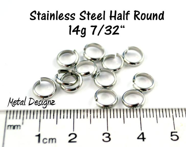 "Stainless Steel Half Round Rings - 14g 7/32"""
