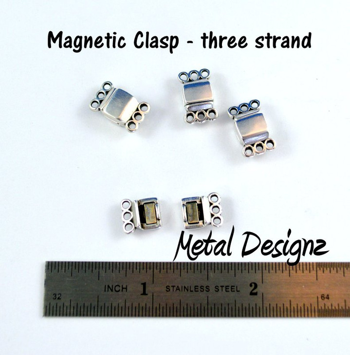 Magnetic Clasp - 3 strand - Antiqued Silver plated Nickle Free - Sold individually