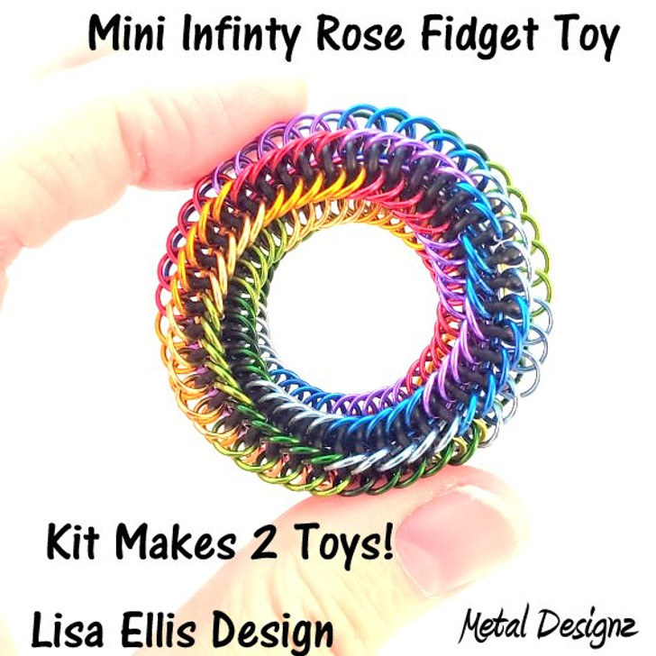 New Mini Rainbow Infinity Rose Fidget Kit - Makes 2 toys - Rings only.