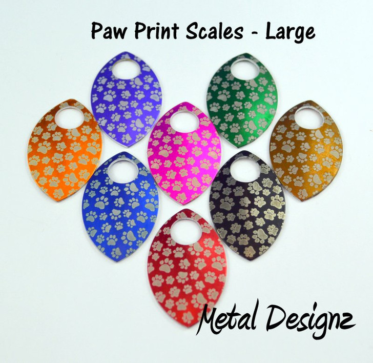 Paw Print Engraved Anodized Aluminum Large Scales