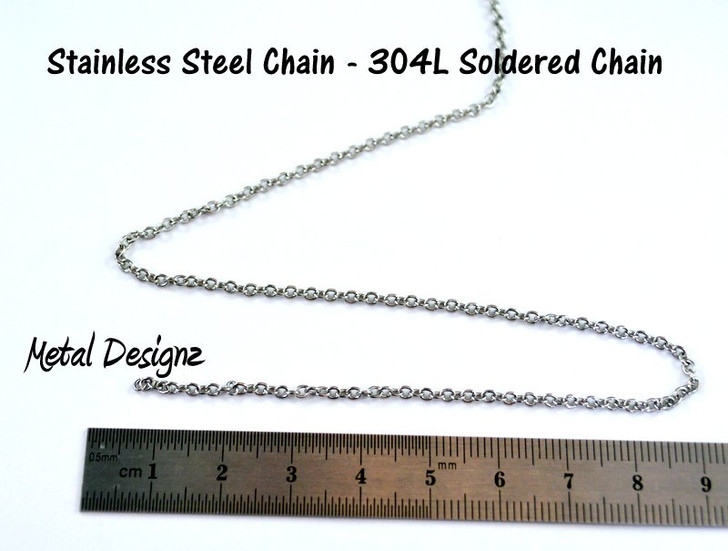 Stainless Steel Soldered Chain - 2.3mm x1.9mm - By the foot