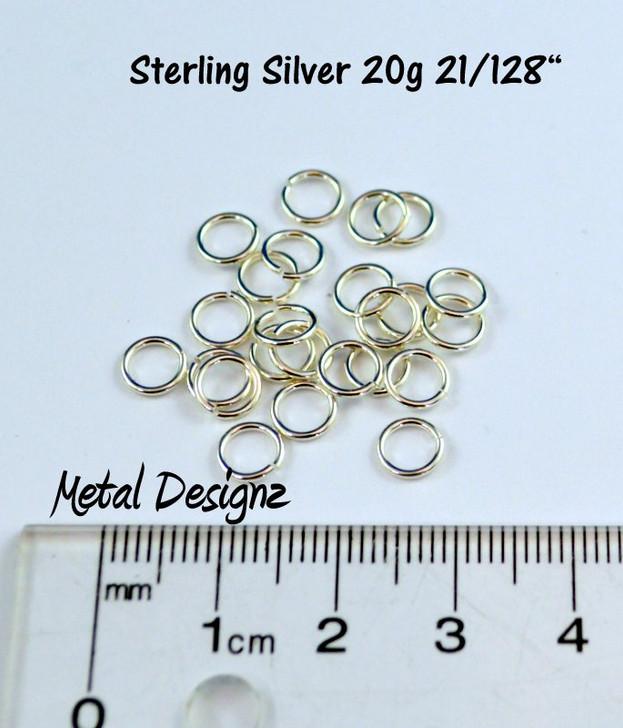 """Sterling Silver Jump Rings 20 Gauge 21/128"""" id."""