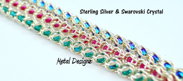 Sterling Silver Micro Caged Crystal Kit - Makes 8 inches of Chain- Swarovski Crystals!