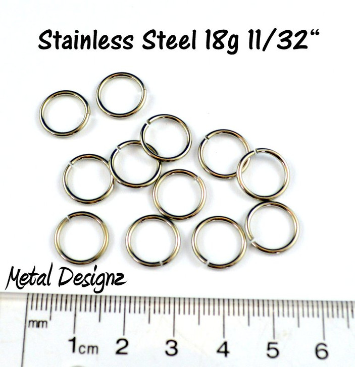 "Stainless Steel Jump Rings 18 Gauge 11/32"" id."