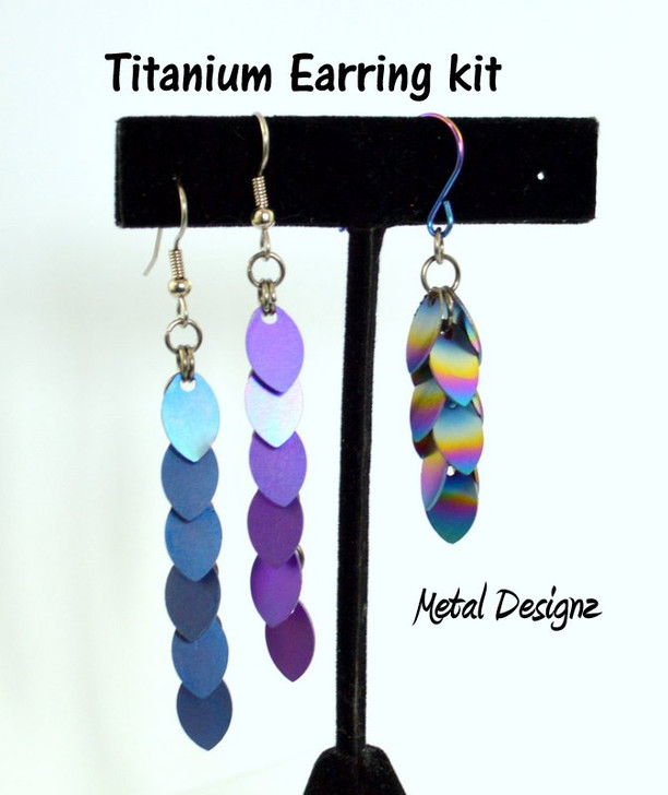Anodized Titanium Baby Scale Earring Kit - Makes 4 pair