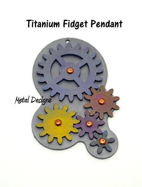 Titanium Fidget Pendant - Steampunk gear - Working gears that spin - wear and playable