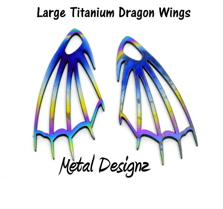 Laser Cut Titanium Dragon Wings - Large - Sold by pair