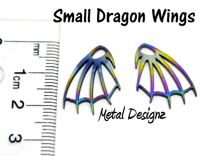 Small Dragon Wings Titanium Laser Cut Findings - Made in Canada