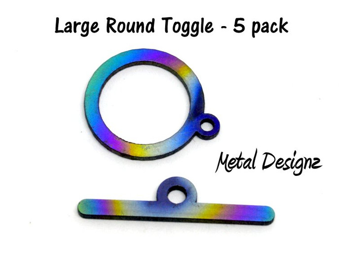 Laser Cut Titanium Toggle pack -5 pack of large Round Toggles