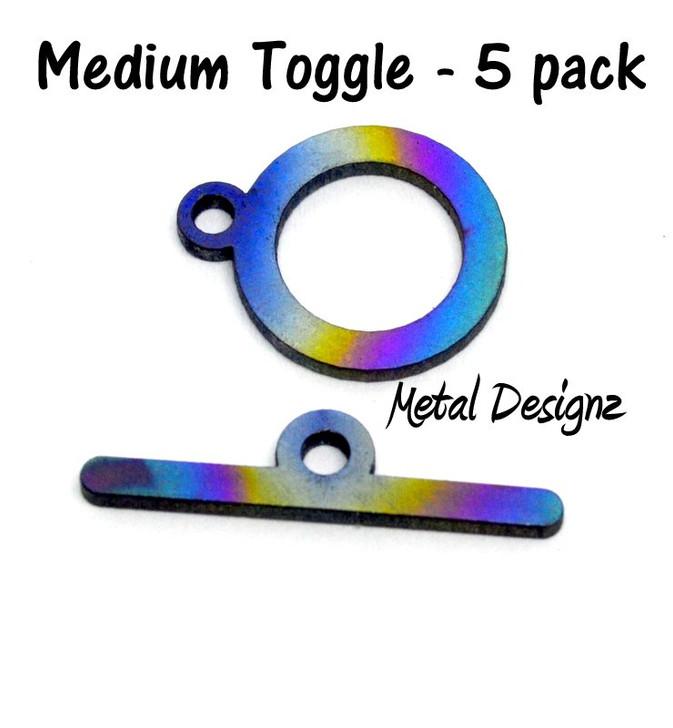 Laser Cut Titanium Toggle pack -5 pack of Medium Round Toggles
