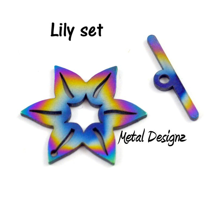 Laser Cut Titanium Toggle -Lily with medium Bar