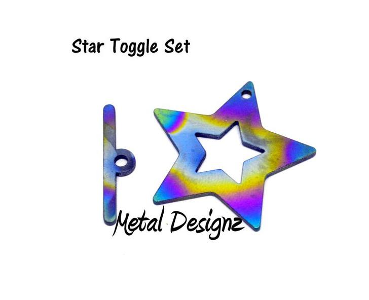 Laser Cut Titanium Toggle -Star Toggle with Medium bar
