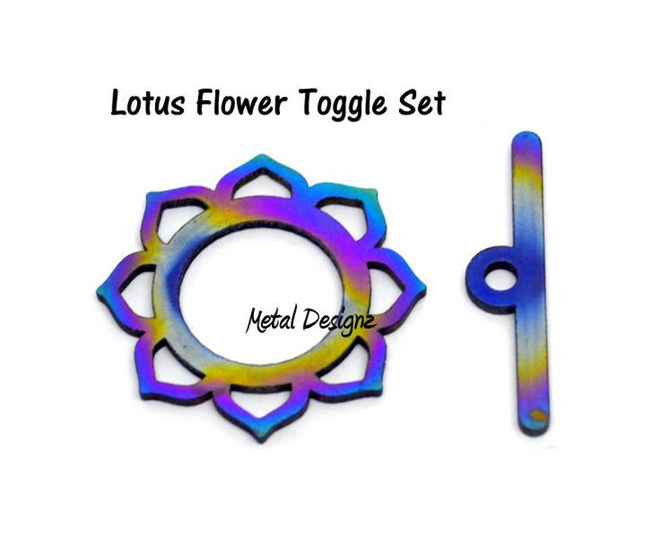 Laser Cut Titanium Toggle -Sun Lotus with Large bar
