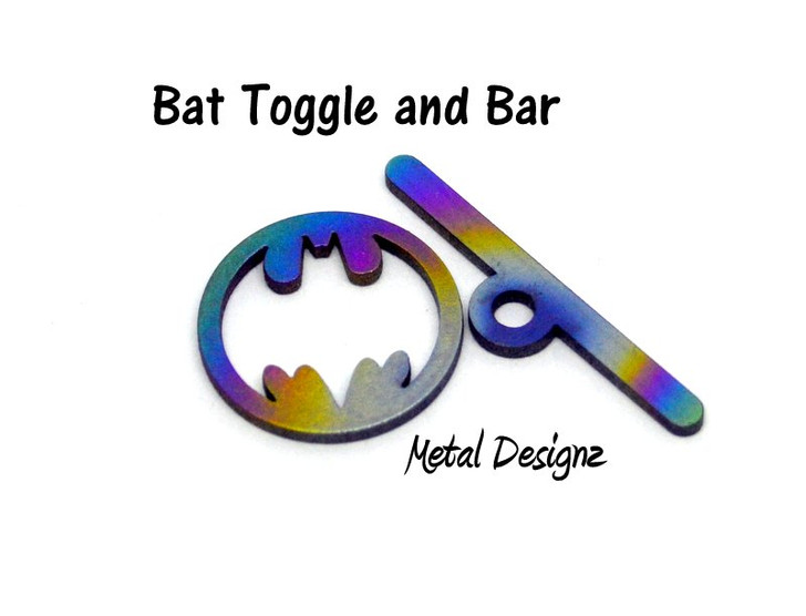 Laser Cut Titanium Toggle or Charm Findings - Bats