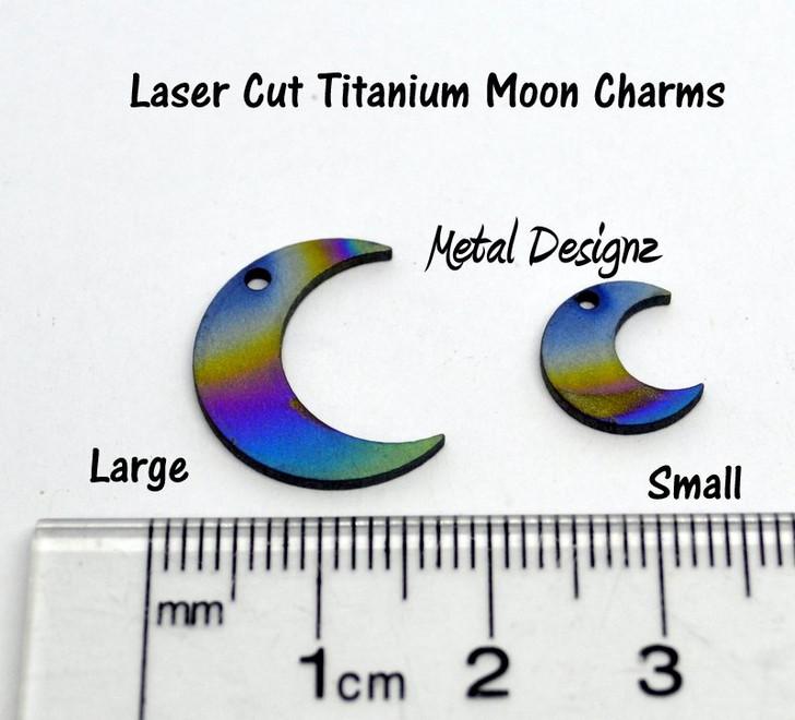 Laser Cut Titanium Moon Charms - Sold Each