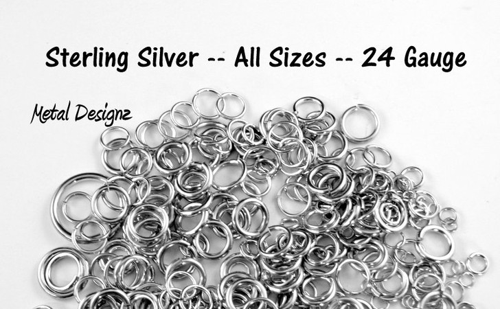 Sterling Silver Jump Rings 24 Gauge Jump Rings - Sold by 1/4 Ounce