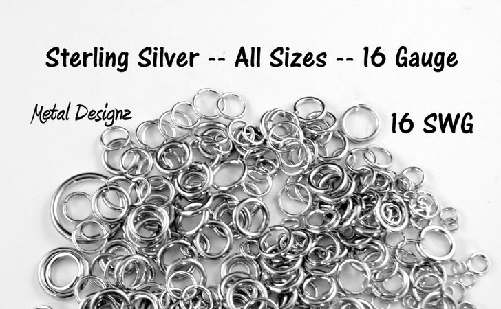 Sterling Silver Jump Rings 16 (SWG) Gauge Jump Rings - Sold by 1/2 Ounce