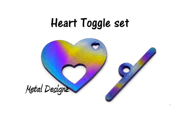 Laser Cut Titanium Toggle or Charm Findings - Heart