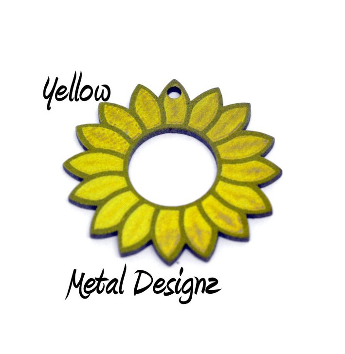 Laser Cut Titanium Toggle or Charm Findings - Sunflower