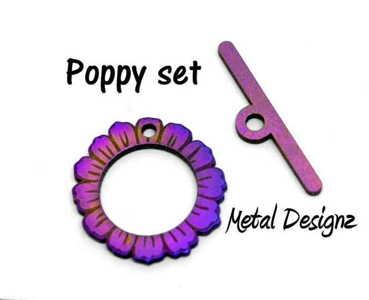 Laser Cut Titanium Toggle or Charm Findings - Poppy