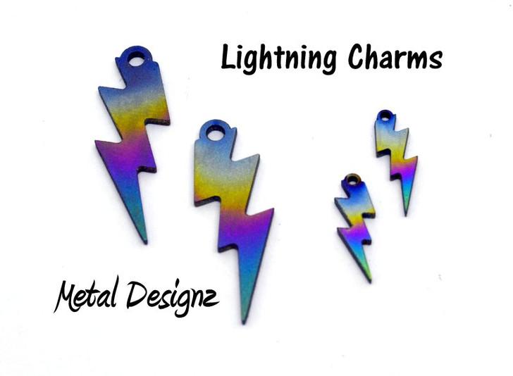 Laser Cut Titanium Lightning Charms - Sold Each