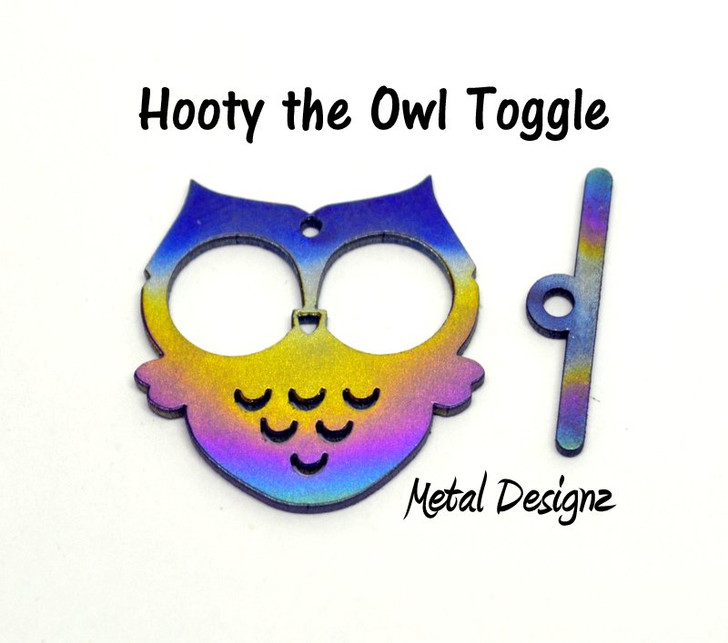 Laser Cut Titanium Toggle or Charm Findings - Owl - Hooty