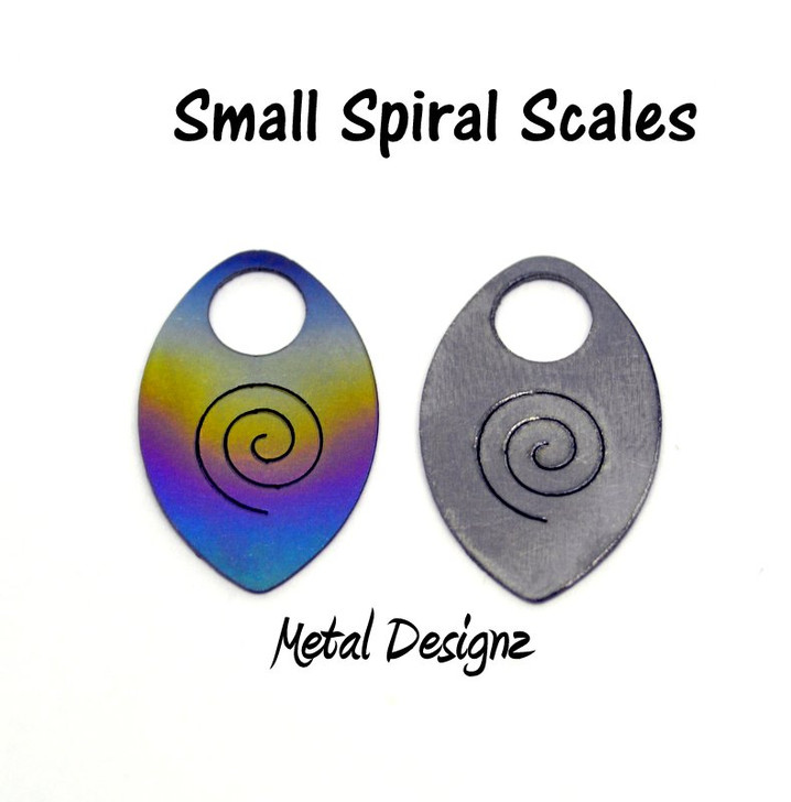 Anodized Titanium Small Scales - Laser Cut - Spiral cut out design