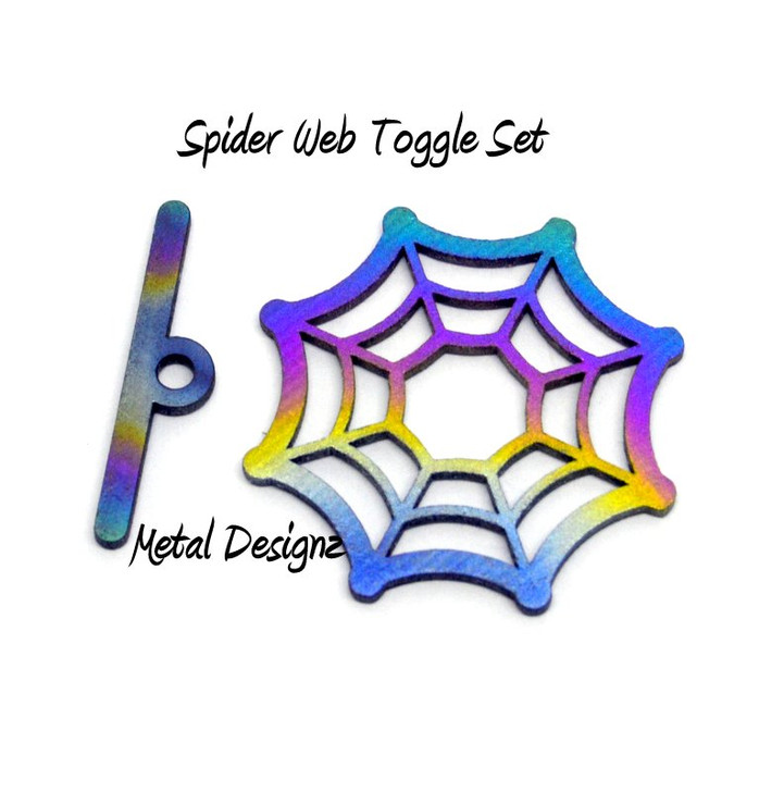 Laser Cut Titanium Toggle or Charm Findings - Spider Web