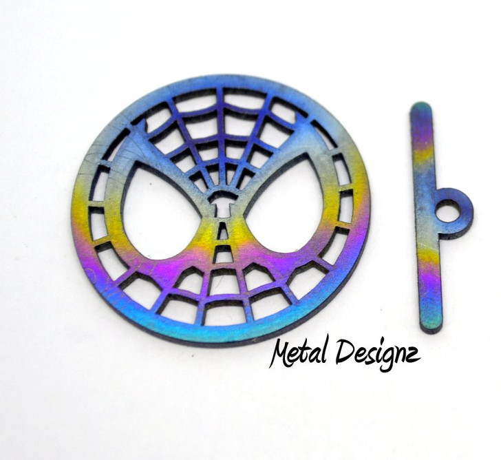 Laser Cut Titanium Toggle or Charm Findings - Spidey