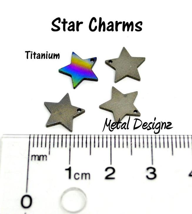 Laser Cut Titanium Star Charms - Sold Each