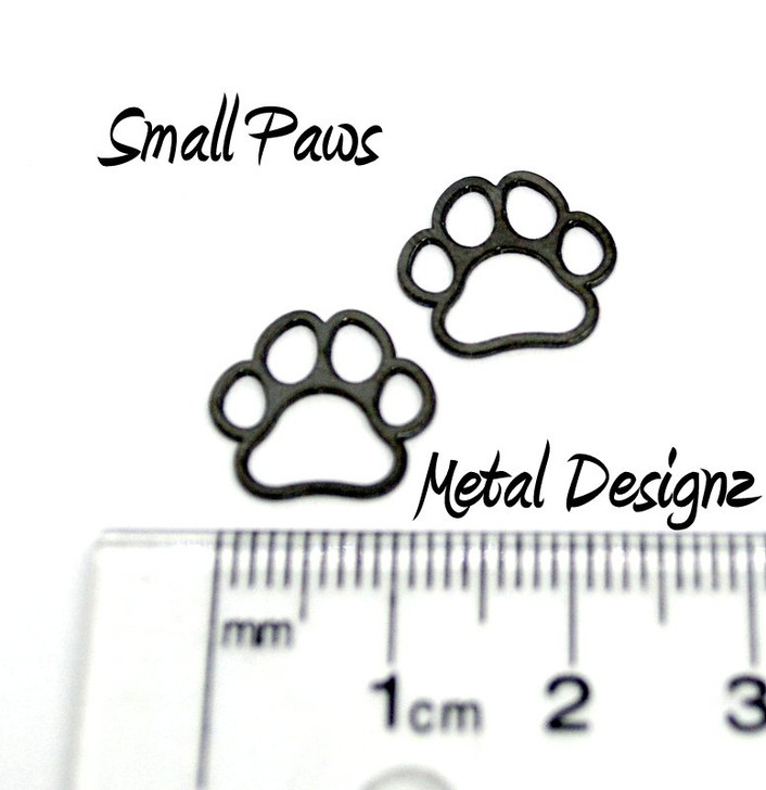 Laser Cut Titanium Small Paws Charms - Sold Each