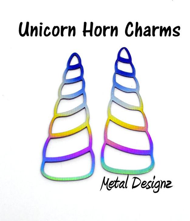 Laser Cut Titanium Unicorn Horn Charms - Sold Each