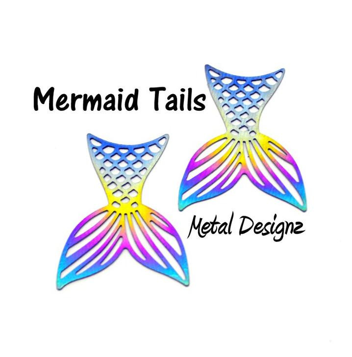 Laser Cut Titanium Mermaid Tail Charms - Sold Each