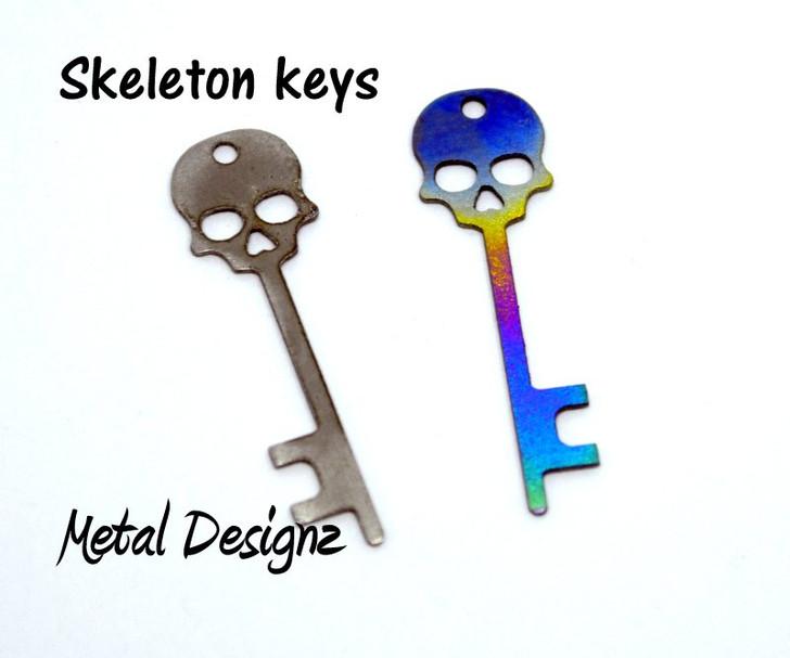 Laser Cut Titanium Skeleton Key Charms - Sold each