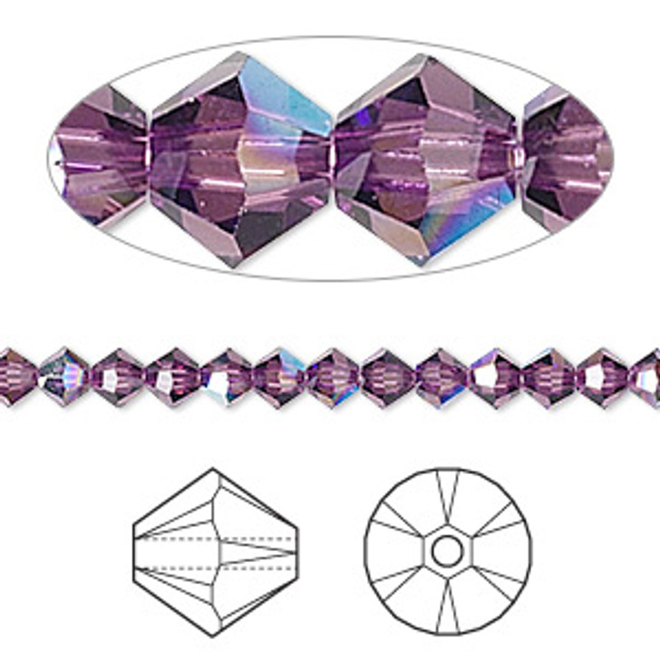 Swarovski Crystal, 4mm  bicone (48pk), Amethyst AB