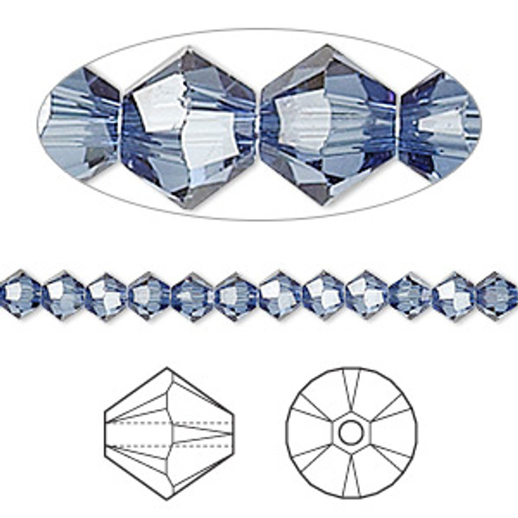 Swarovski Crystal, 4mm  bicone (48pk) Denim Blue