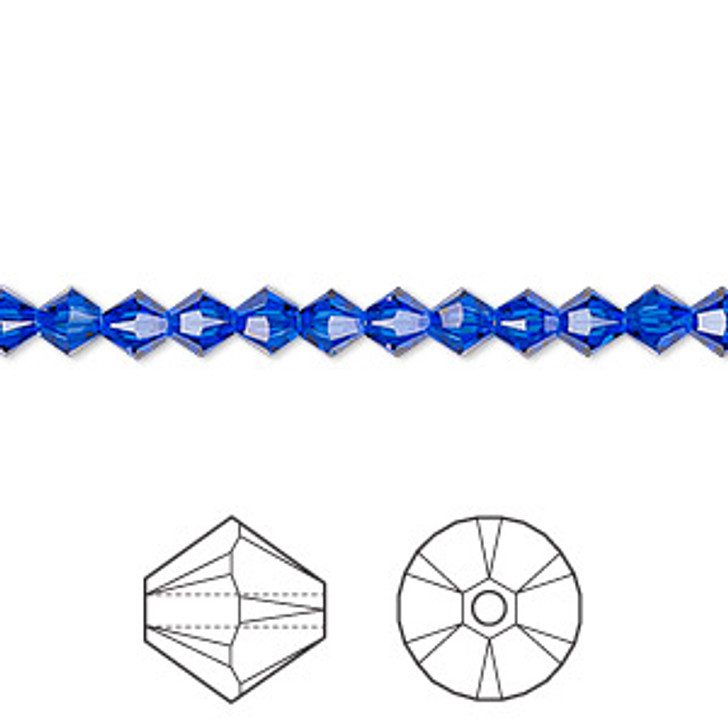 Swarovski Crystal, 4mm  bicone (48pk) Majestic Blue