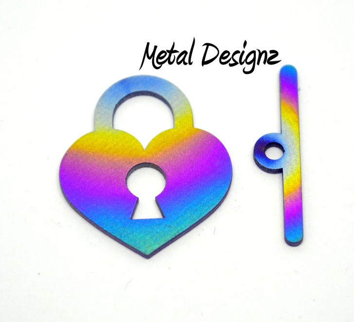 Laser Cut Titanium Heart Lock Toggle set or Charm