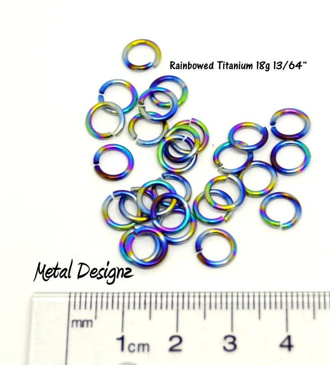 """Rainbowed Titanium Jump Rings 18 Gauge13/64"""" id."""