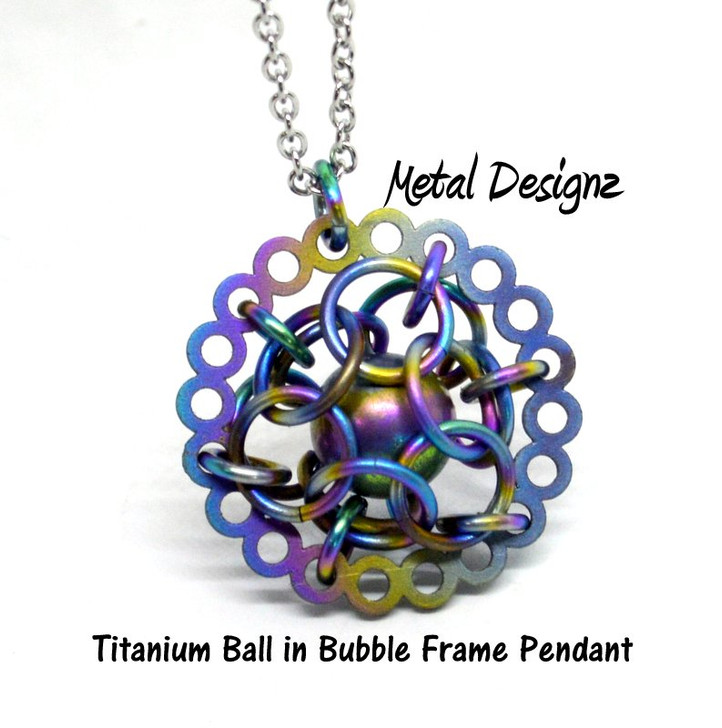 Titanium Ball in Bubble Frame - Pendant with Chain
