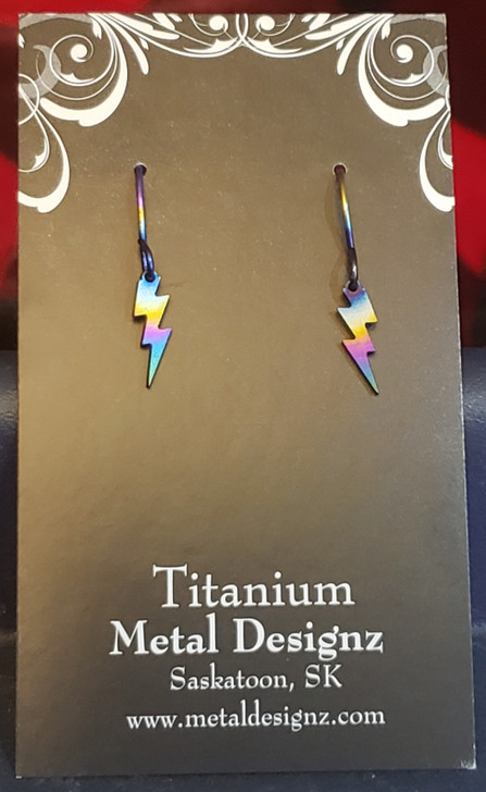 Rainbow Titanium Small Lightning Bolt Earrings - Ready to wear!