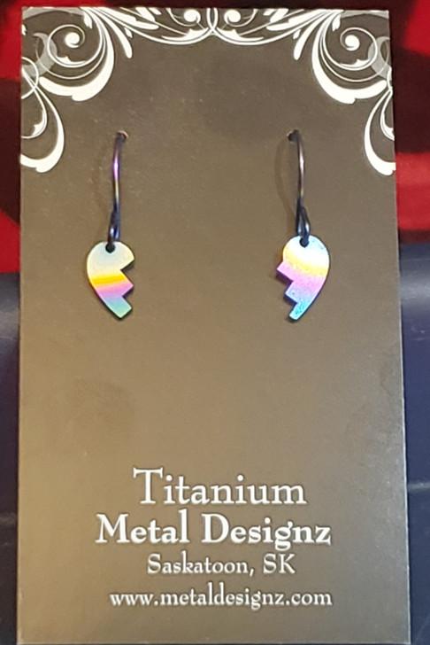 Rainbow Titanium Small Broken Heart Earrings - Ready to wear!